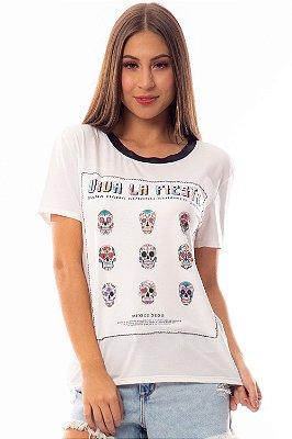 T-Shirt Bana Bana Estampa de Caveira Mexicana