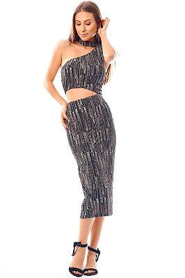 Vestido Bana Bana Midi com Recorte Lurex Preto