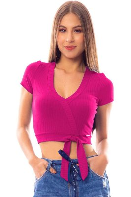 Blusa Cropped Bana Bana com Amarração Rosa Pink