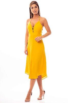 Vestido Midi Bana Bana Frente Única Amarelo
