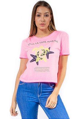 T-Shirt Bana Bana Chocker Rosa Neon