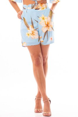 SHORTS COM FIVELA HAPPY HOUR - FLORAL VAINILLA