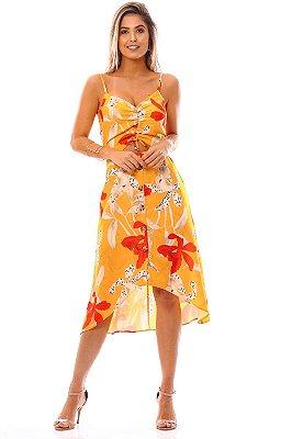 Vestido Midi Bana Bana Estampado Amarelo