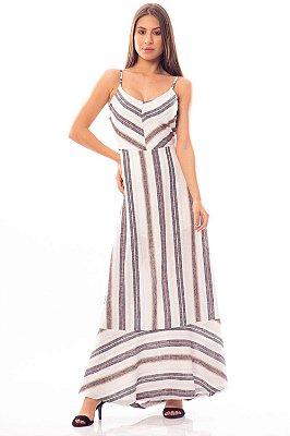 Vestido Longo Bana Bana Listrado em Linho