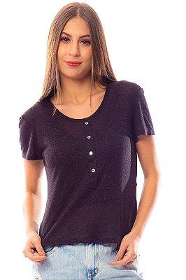 T-Shirt Bana Bana com Botões Preta