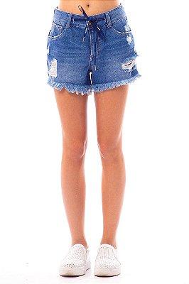 Shorts Jeans Bana Bana Hot Pants com Listra Lateral