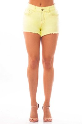Shorts Jeans Bana Bana Hot Pants Amarelo