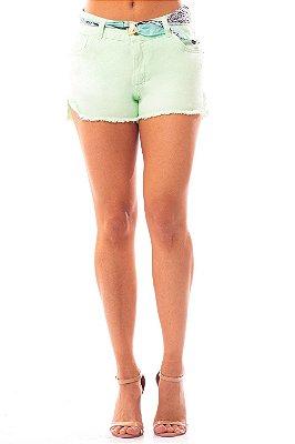 Shorts Jeans Bana Bana com Lenço Verde
