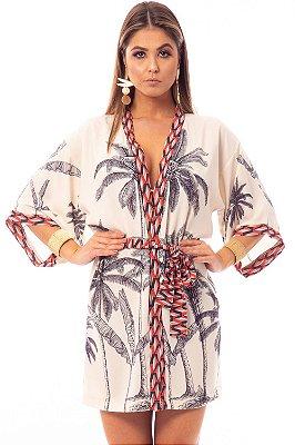Saída de Praia Bana Bana Kimono Estampa Coqueiros
