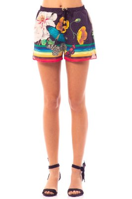 Saída de Praia Bana Bana Shorts Estampado Preto