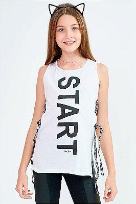 Blusa Bana Bana Star Long com Cadarço Branco