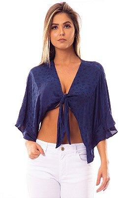 Blusa Bana Bana com Amarração Azul Marinho