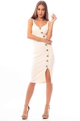 Vestido Midi Bana Bana com Fenda Frontal Água de Coco