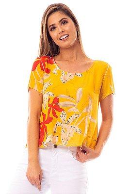 Blusa Bana Bana Manga Curta com Babado Estampa Floral Amarela