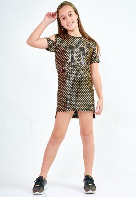 Vestido Bana Bana Star T-Shirt Paetê