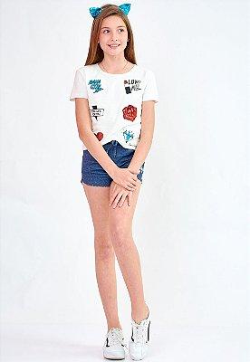 Shorts Bana Bana Star Moletinho Jeans