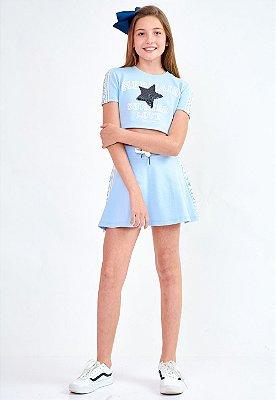 Conjunto Bana Bana Star Cropped e Saia Moletom Azul