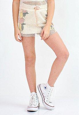 Shorts Saia Bana Bana Star Estampado com Tela Sobreposta