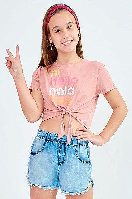 Blusa Bana Bana Star T-Shirt com Amarração Rosa