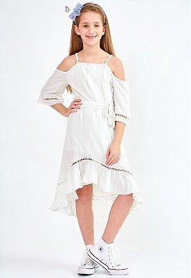 Vestido Bana Bana Star Midi Off White