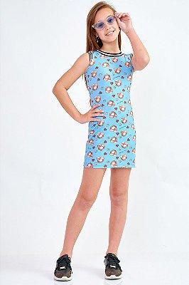Vestido Bana Bana Star Azul Estampa Hamburguer