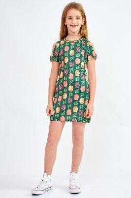Vestido Bana Bana Star Canelado T-Shirt Verde Militar