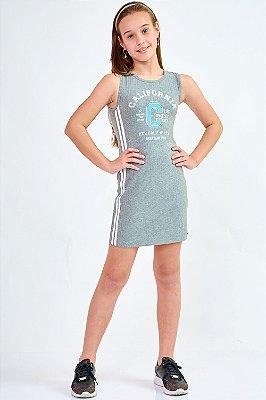 Vestido Bana Bana Star Canelado Cinza