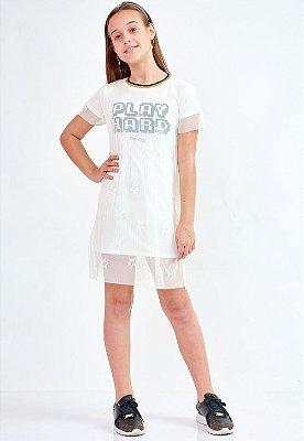 Vestido Bana Bana Star Curto em Tule Off White