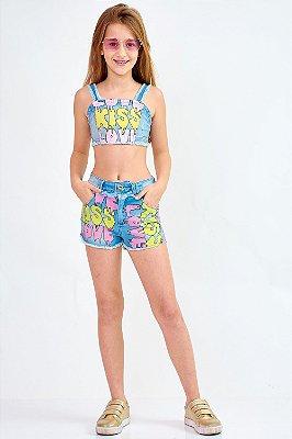 Shorts Jeans Bana Bana Star Cintura Alta Estampa Escritas