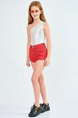 Shorts Jeans Bana Bana Star Vermelho