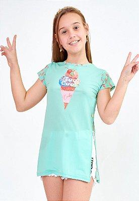Saída de Praia Bana Bana Star T-Shirt Estampa Sorvete Verde