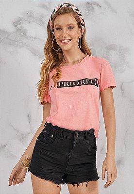 T-Shirt Bana Bana Outubro Rosa com Lenço