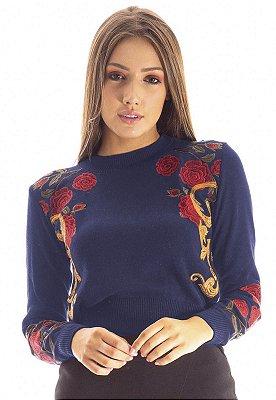 Blusa Tricot Bana Bana com Bordado Azul Marinho