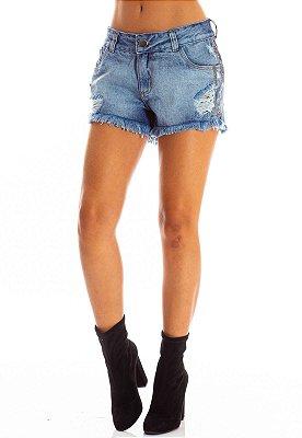 Shorts Jeans Bana Bana com Pedrarias na Lateral