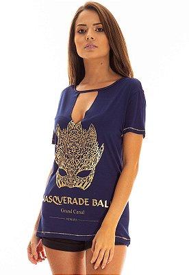 T-Shirt Bana Bana Azul Marinho com Estampa Dourada