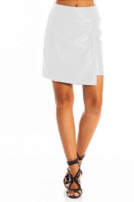 Saia Bana Bana Curta em Leather Assimétrica Off White