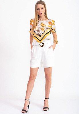 Blusa Bana Bana T-Shirt Estampa Lenço Floral Amarillo