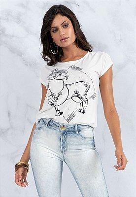 T-Shirt Bana Bana Signos Áries Branca com Copo Canudo
