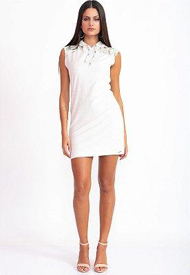 Vestido Curto Bana Bana com Capuz em Moletom Off White