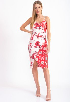 VESTIDO MIX ESTAMPADO HAPPY HOUR - FLORES BEIJE