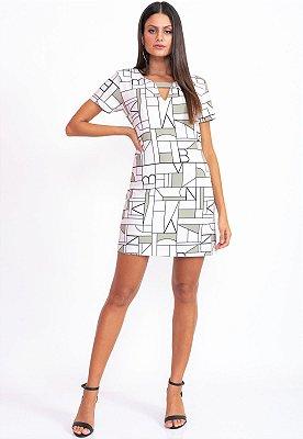 Vestido Curto Bana Bana Evasê com Estampa Geométrica
