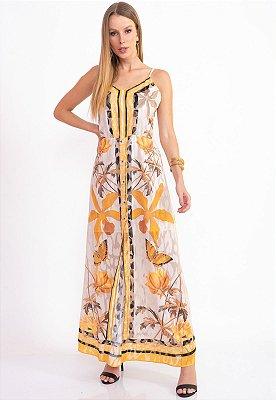 Vestido Longo Bana Bana com Botões Estampa Lenço Floral Amarillo