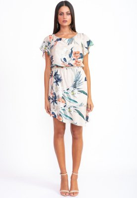 Vestido Curto Bana Bana Barra Assimétrica Estampado Flores de Verano