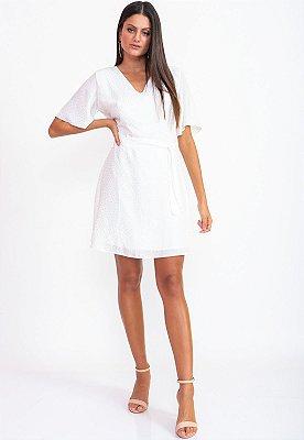 Vestido Curto Bana Bana com Brilho Off White