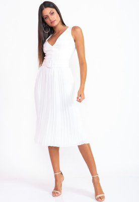 Vestido Curto Bana Bana Plissado Off White