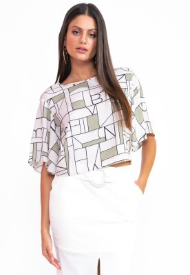 BLUSA SOLTINHA HAPPY HOUR - GEOMETRIC VERDE