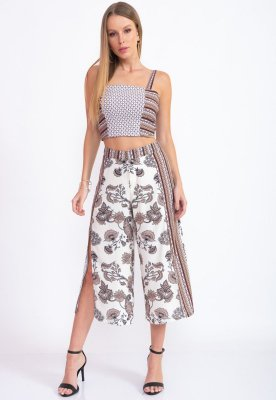 CONJUNTO TOP COM CALÇA PANTALONMA HAPPY HOUR - FLORAL AMENDOA