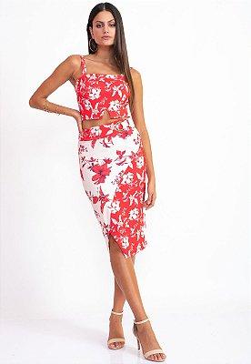 Conjunto Bana Bana Saia Midi e Cropped Floral Vermelha