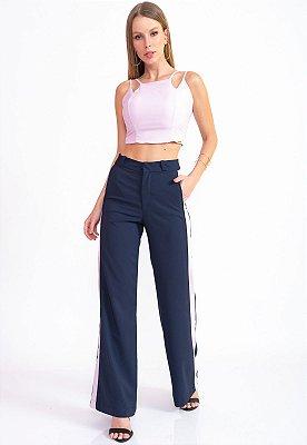 Conjunto Bana Bana Calça Pantalona e Cropped Lilás