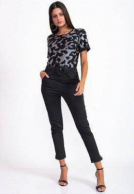 T-Shirt Bana Bana com Estampa Animal Print Preto